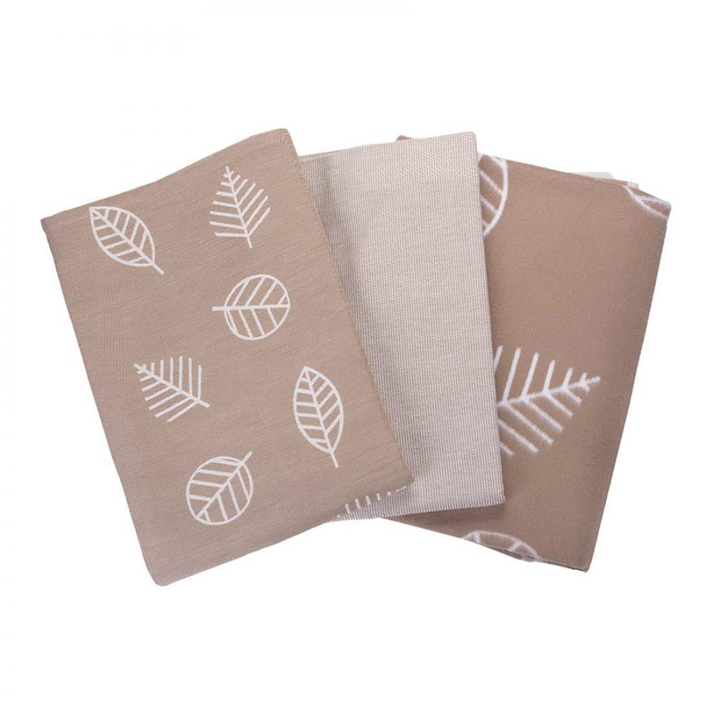 Одеяло байковое взрослое 150x212 Листья кофейный