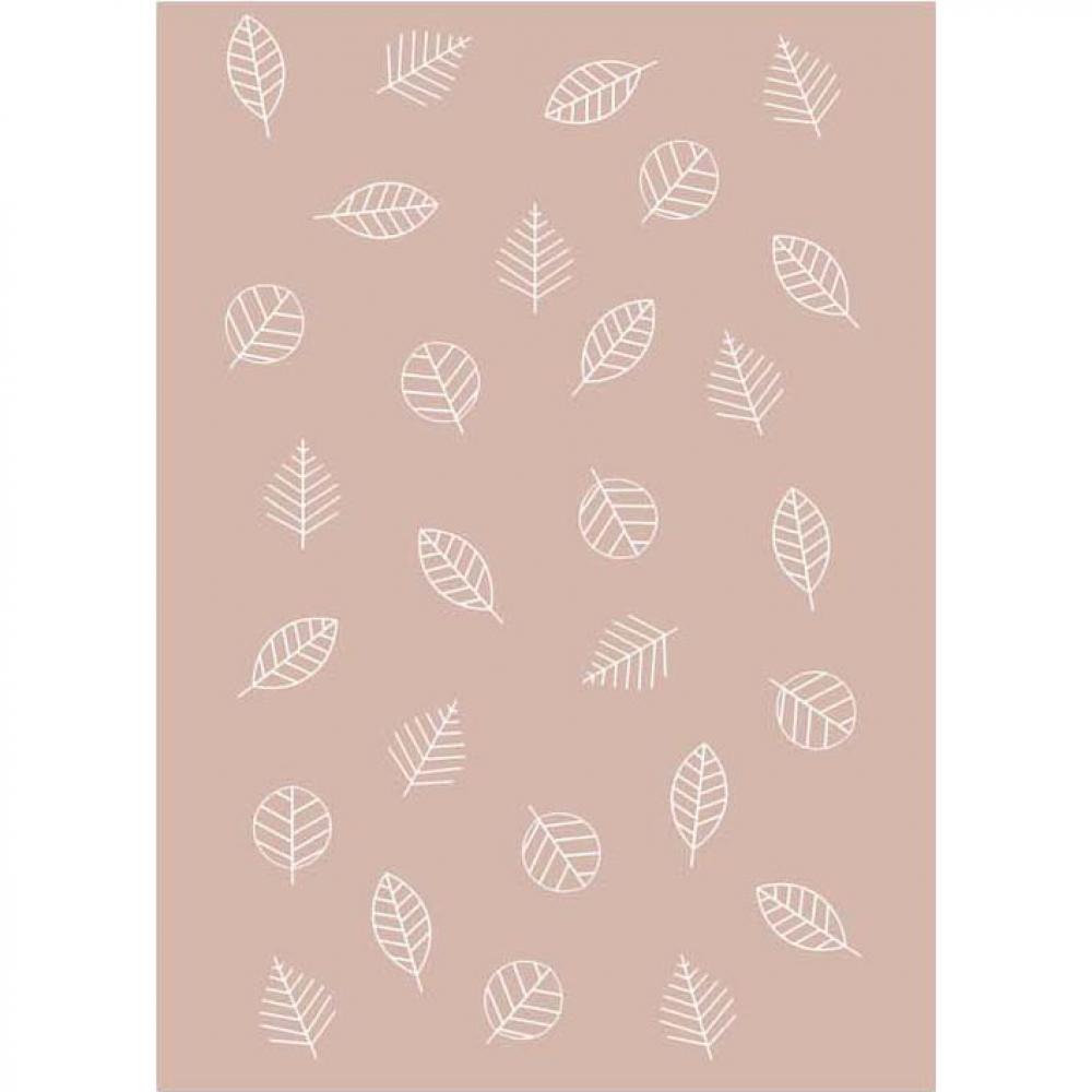 Байковое одеяло взрослое 150x212 Листья цвет пудровый Ермолино