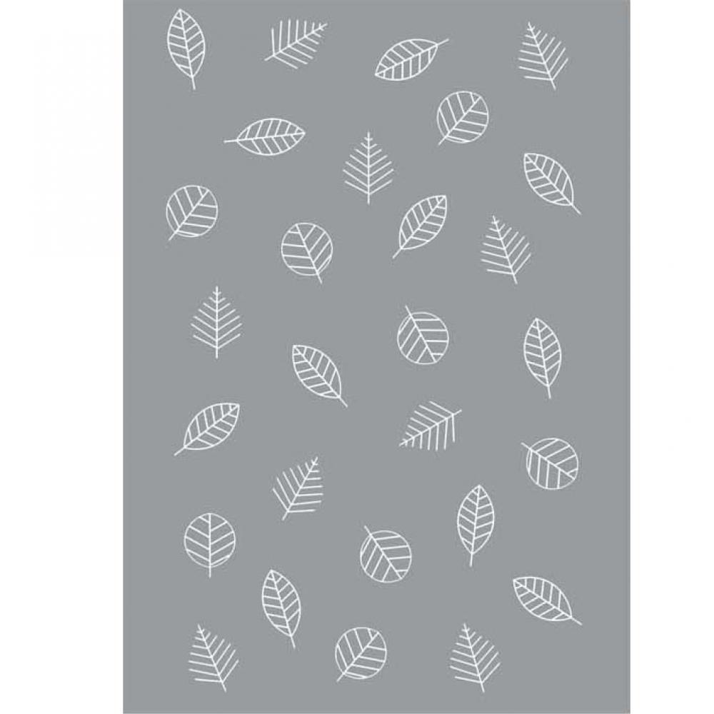 Одеяло байковое взрослое 150x212 Листья серый