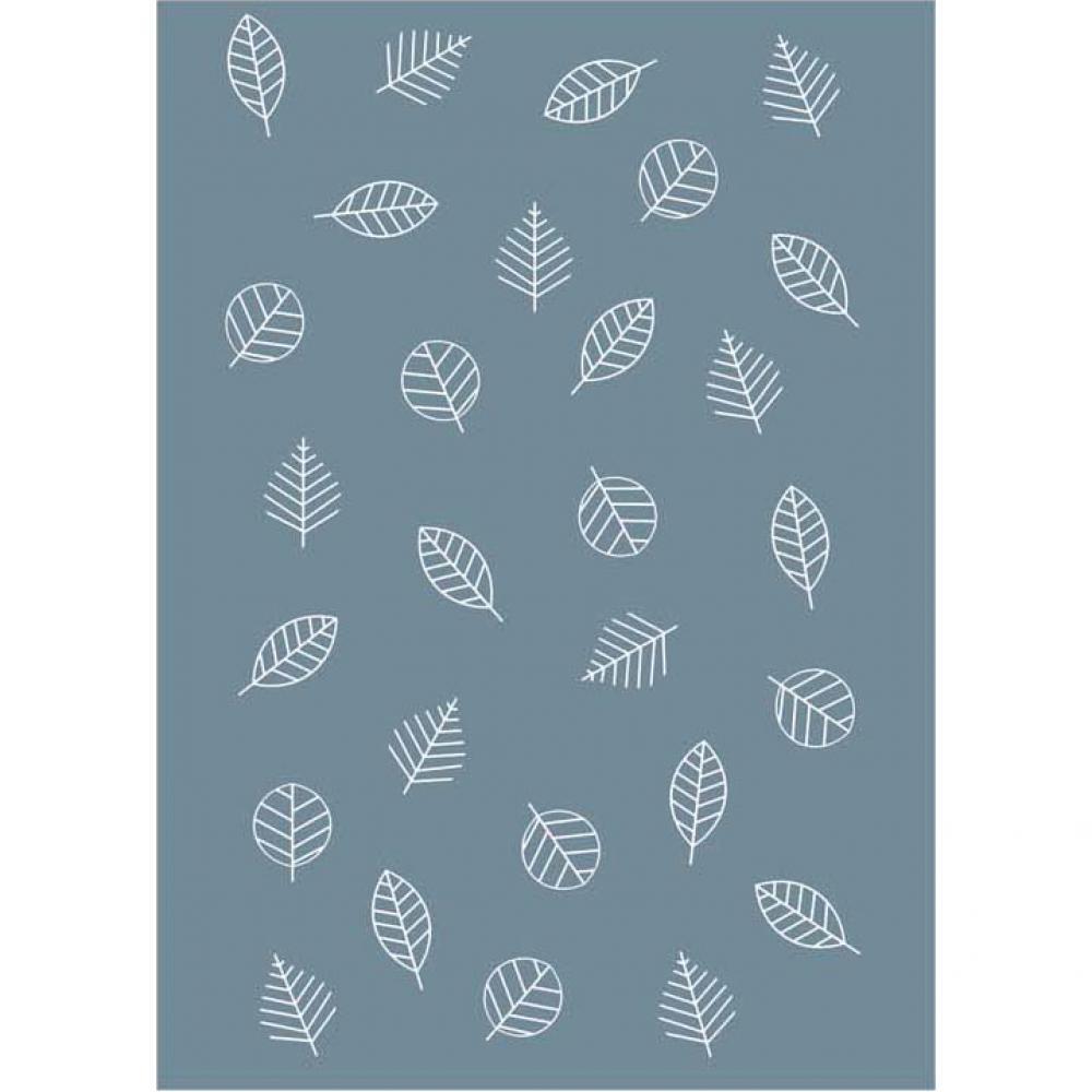 Байковое одеяло взрослое серо-синего цвета 150x212 Листья Ермолино