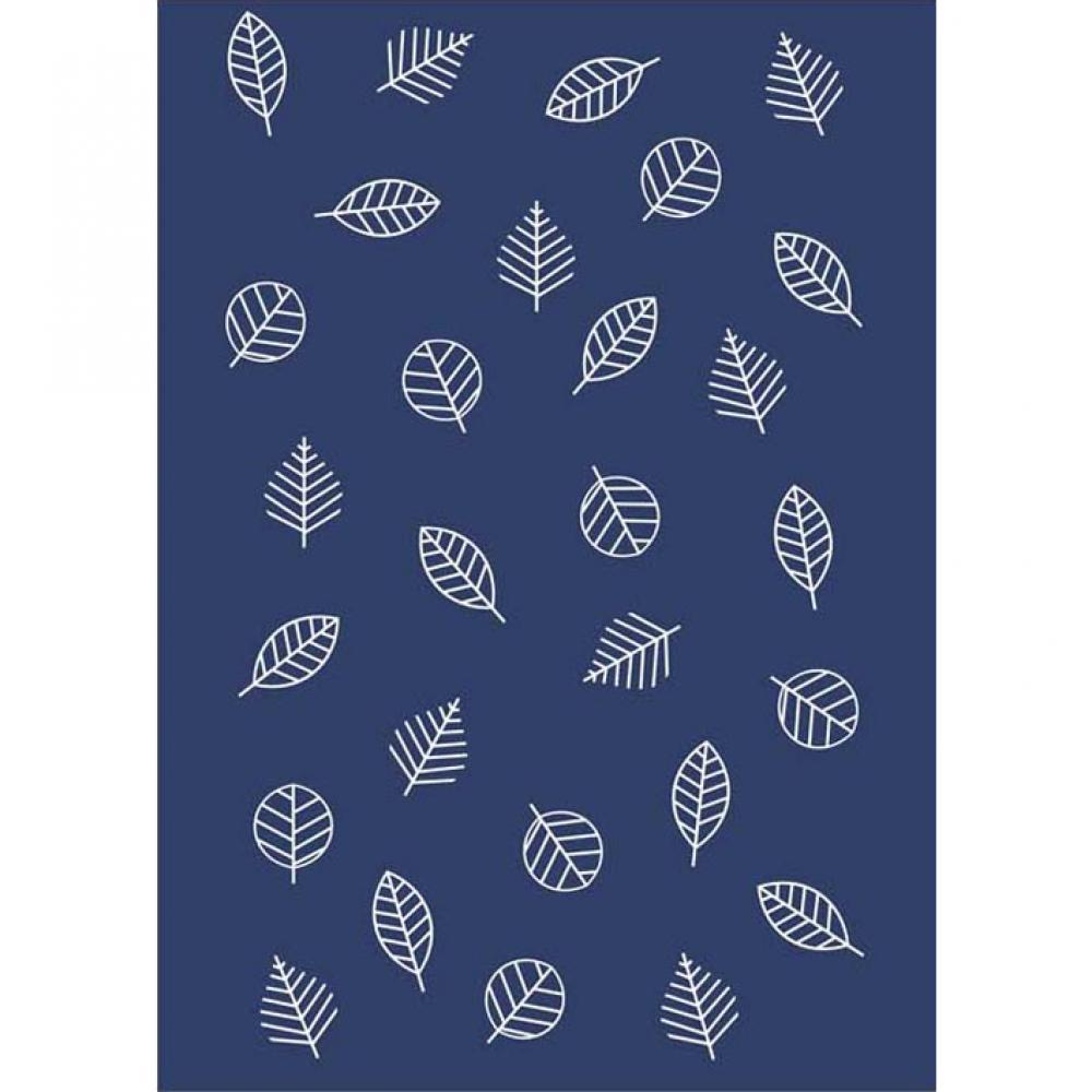Байковое одеяло взрослое синего цвета 150x212 Листья Ермолино