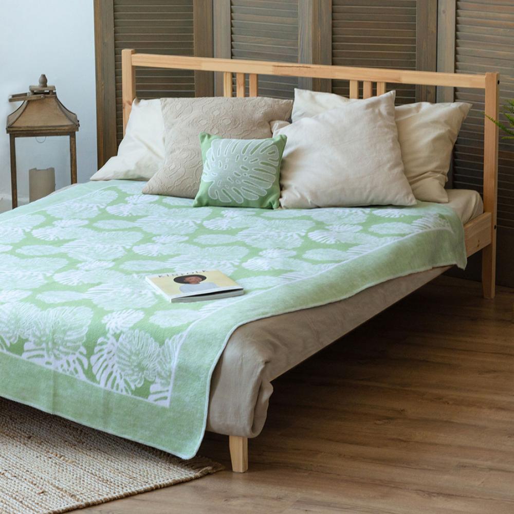 Байковое одеяло взрослое 150x212 Монстера мятного цвета Ермолино