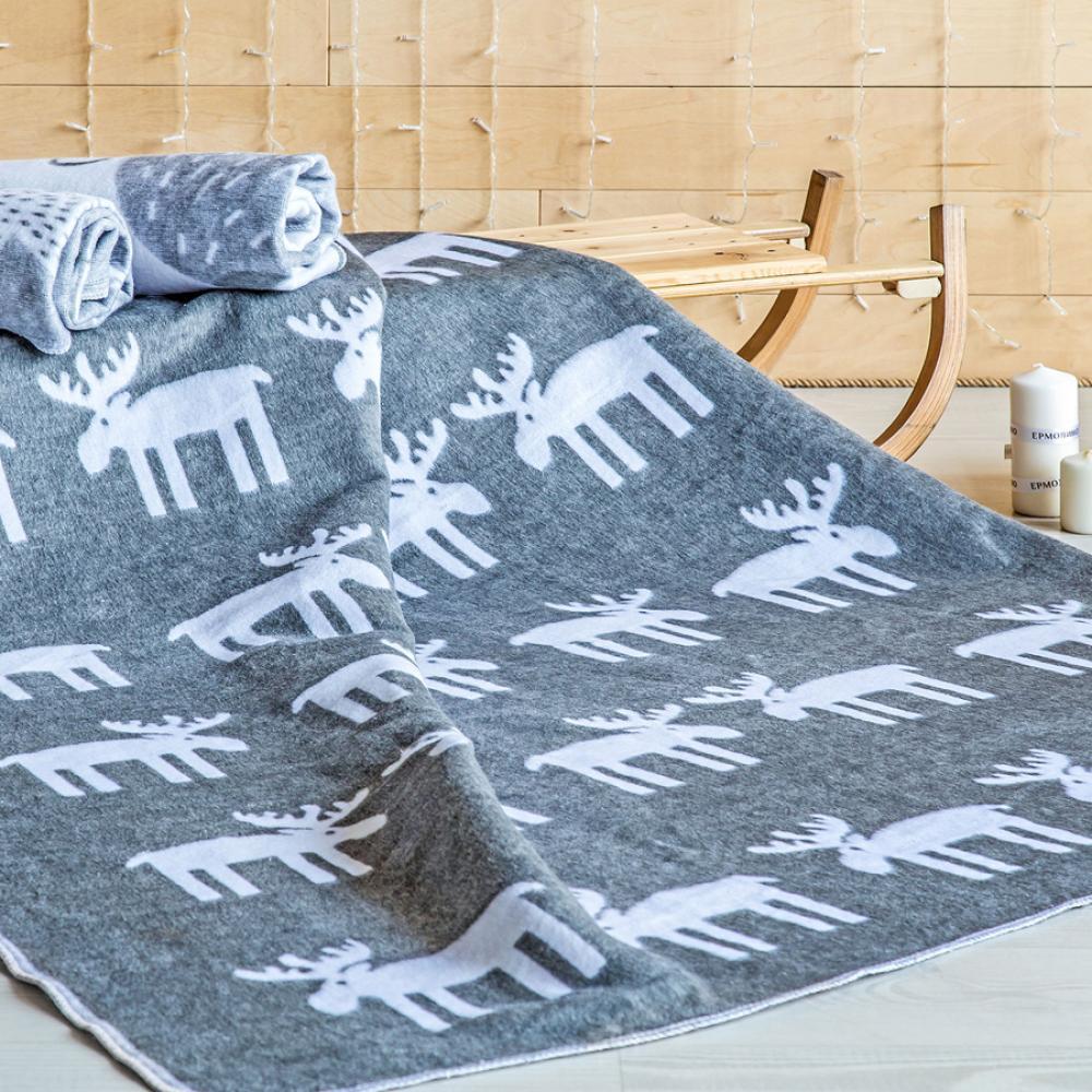 Одеяло байковое взрослое 150x212 Олени серый цвет