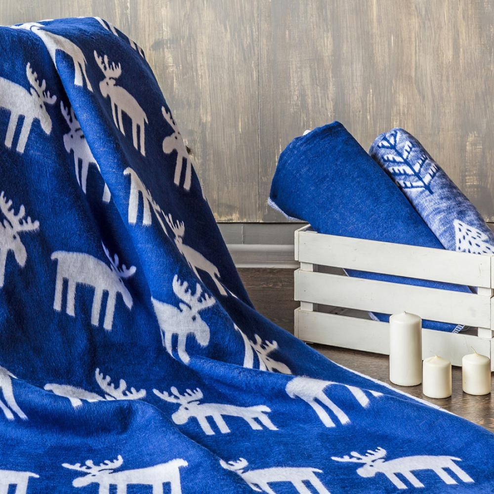 Байковое одеяло взрослое синего цвета 150x212 Олени Ермолино