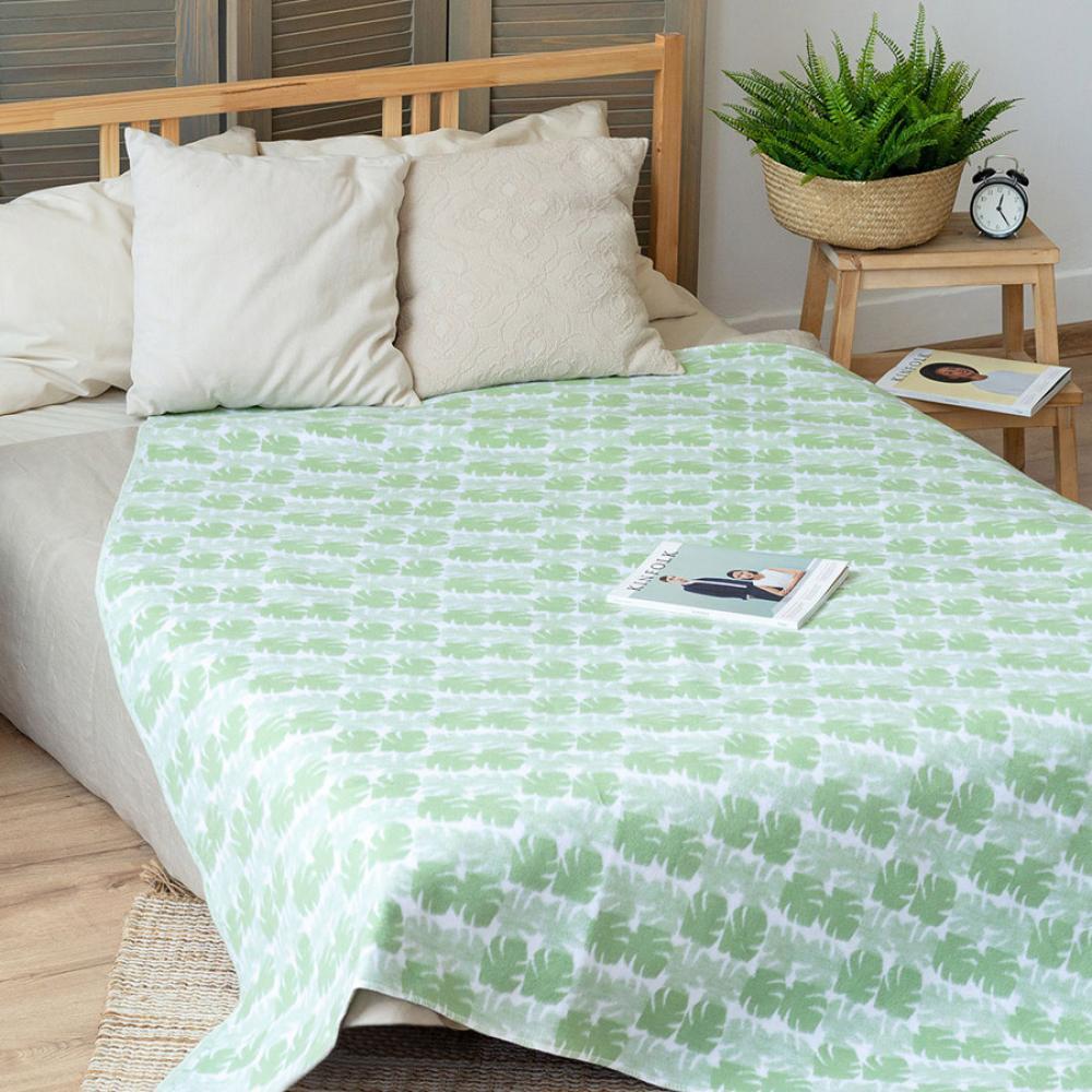 Байковое одеяло взрослое мятного цвета 150x212 Пальма Ермолино