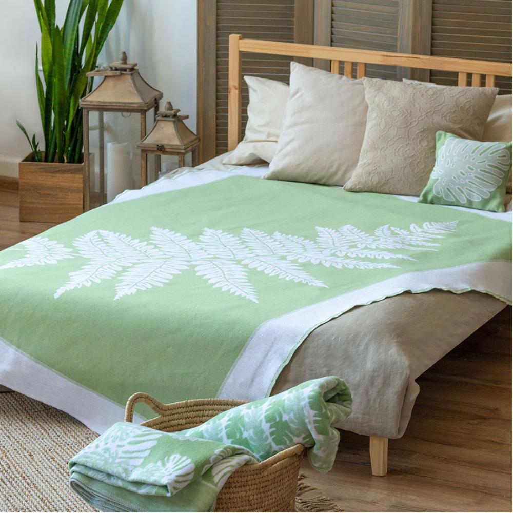 Байковое одеяло взрослое 150x212 Папоротник мятного цвета Ермолино
