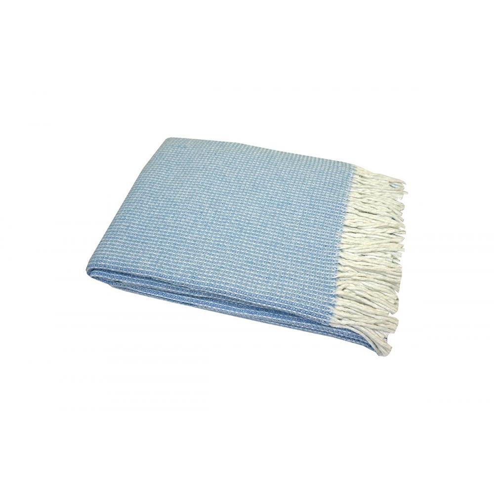 Плед хлопковый 140x200 Валенсия Верона бело-голубой