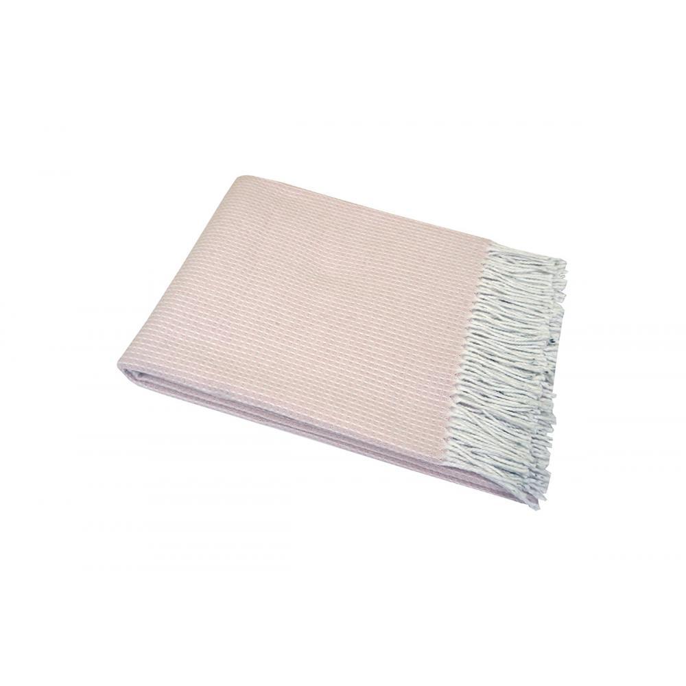 Плед хлопковый 140x200 Валенсия Верона бело-розовый