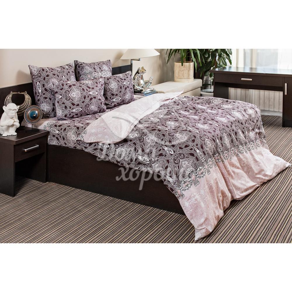 Постельное белье поплин Восточная принцесса коричневый Ночь Нежна (семейное, евро, 1.5, 2 спальное)