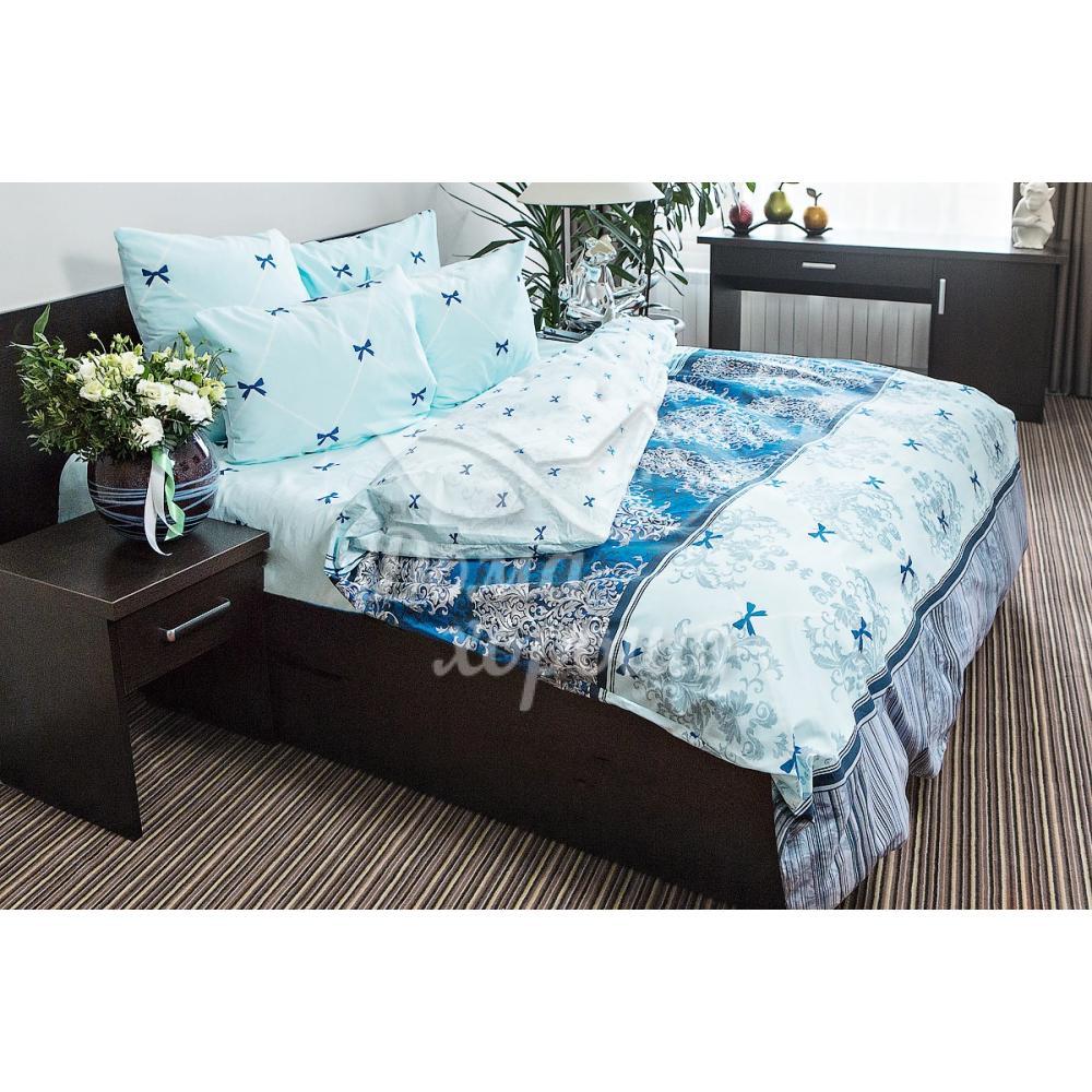 Постельное белье Ночь Нежна Десанж синее поплин (семейное, евро, 1.5, 2 спальное)