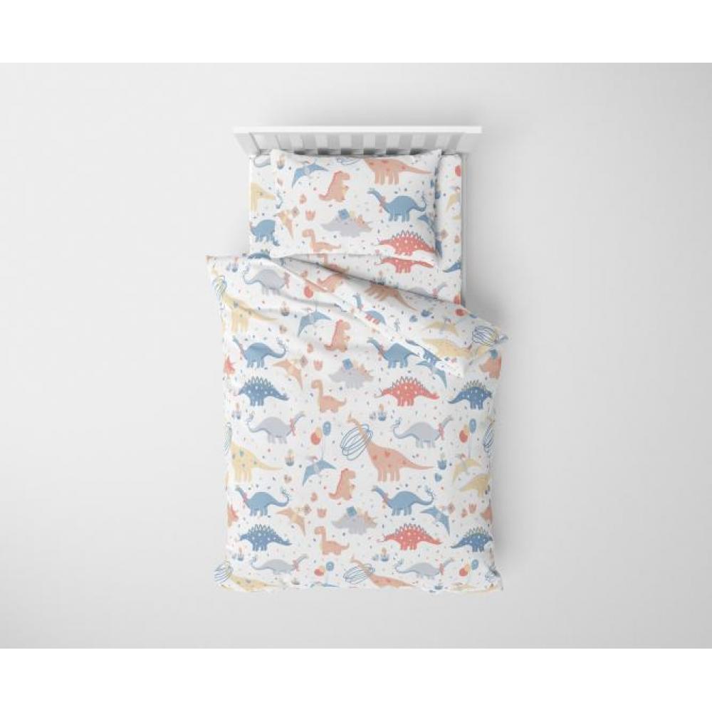 Постельное белье детское хлопок 1,5 спальное с 1 наволочкой 50x70 Дино Пати пастель