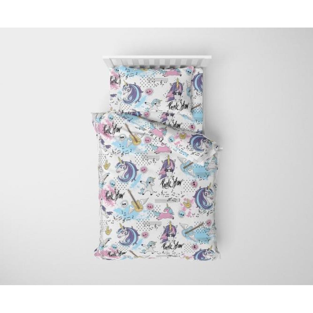 Постельное белье детское хлопок 1,5 спальное с 1 наволочкой 50x70 Единорог розовый