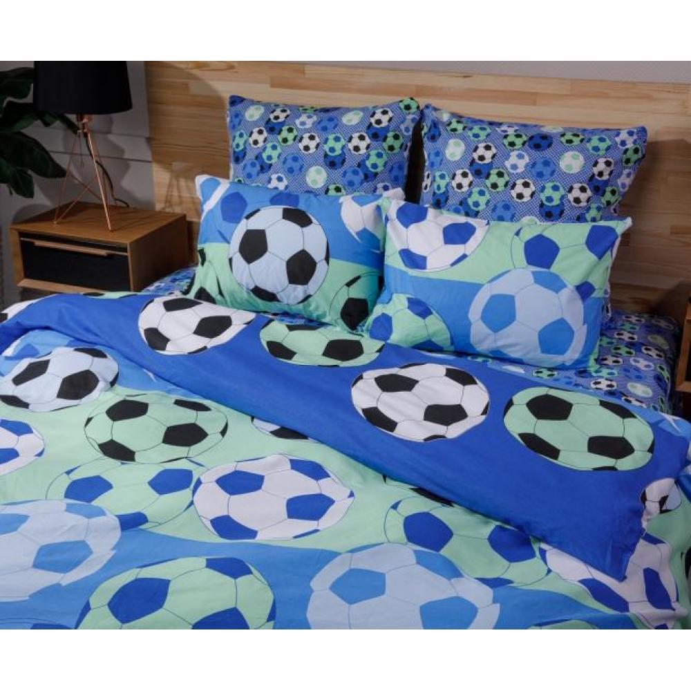 Постельное белье детское хлопок 1,5 спальное с 1 наволочкой 50x70 Футбол мячи