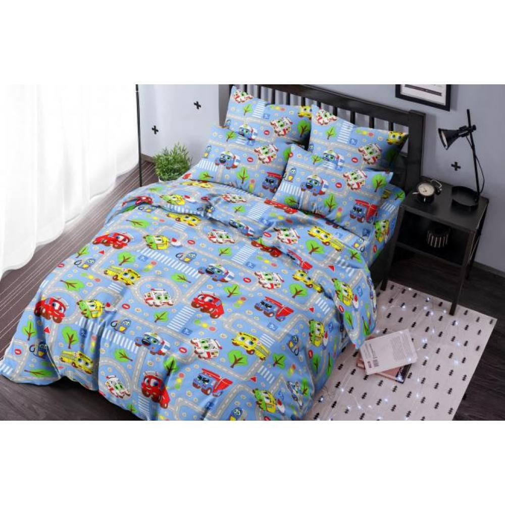 Постельное белье детское хлопок 1,5 спальное с 1 наволочкой 50x70 Город тачек синий