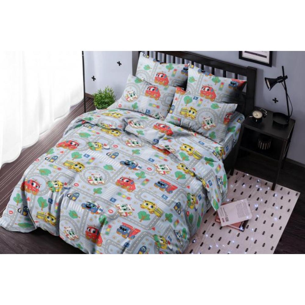 Постельное белье детское хлопок 1,5 спальное с 1 наволочкой 50x70 Город тачек серый