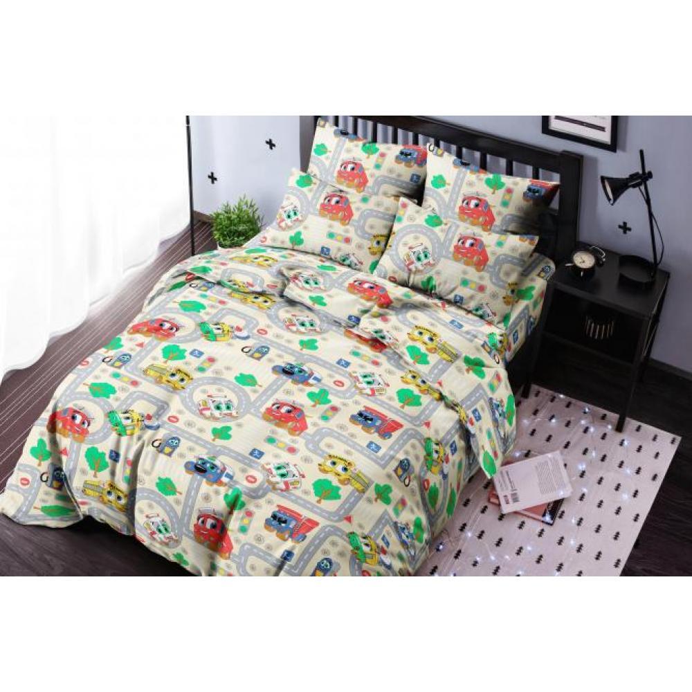Постельное белье детское хлопок 1,5 спальное с 1 наволочкой 50x70 Город тачек бежевый