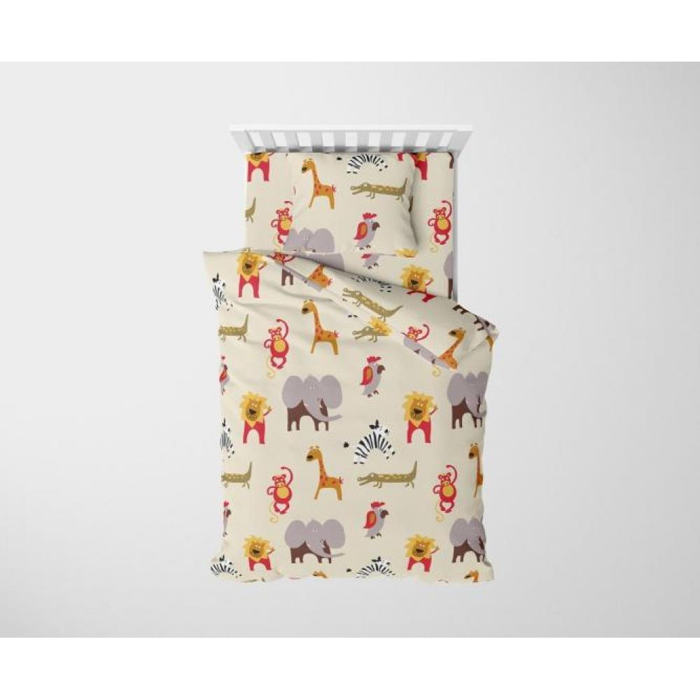 Постельное белье детское хлопок 1,5 спальное с 1 наволочкой 50x70 Каникулы в Африке