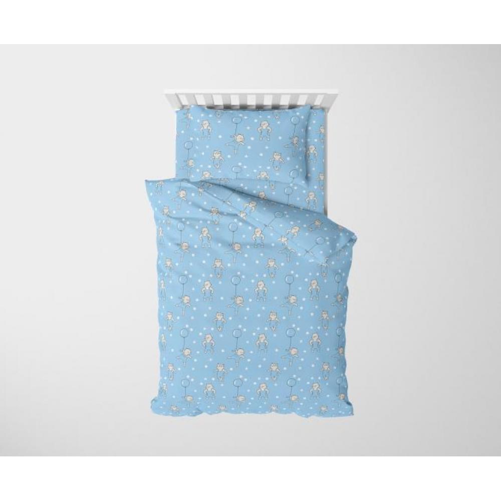 Постельное белье детское хлопок 1,5 спальное с 1 наволочкой 50x70 Маленький котенок синий