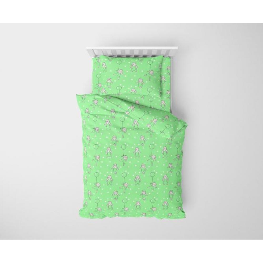 Постельное белье детское хлопок 1,5 спальное с 1 наволочкой 50x70 Маленький котенок зеленый