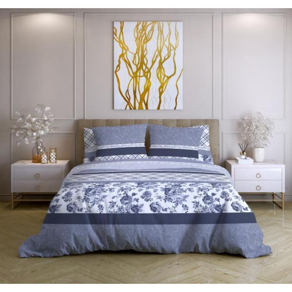 Постельное белье поплин Валери синий Ночь Нежна (семейное, евро, 1.5, 2 спальное)