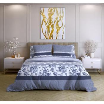 Постельное белье Ночь Нежна Валери синий (семейное, евро, 1.5, 2 спальное) поплин