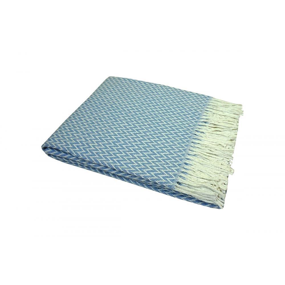 Плед хлопковый 140x200 Валенсия Антонио бело-голубой