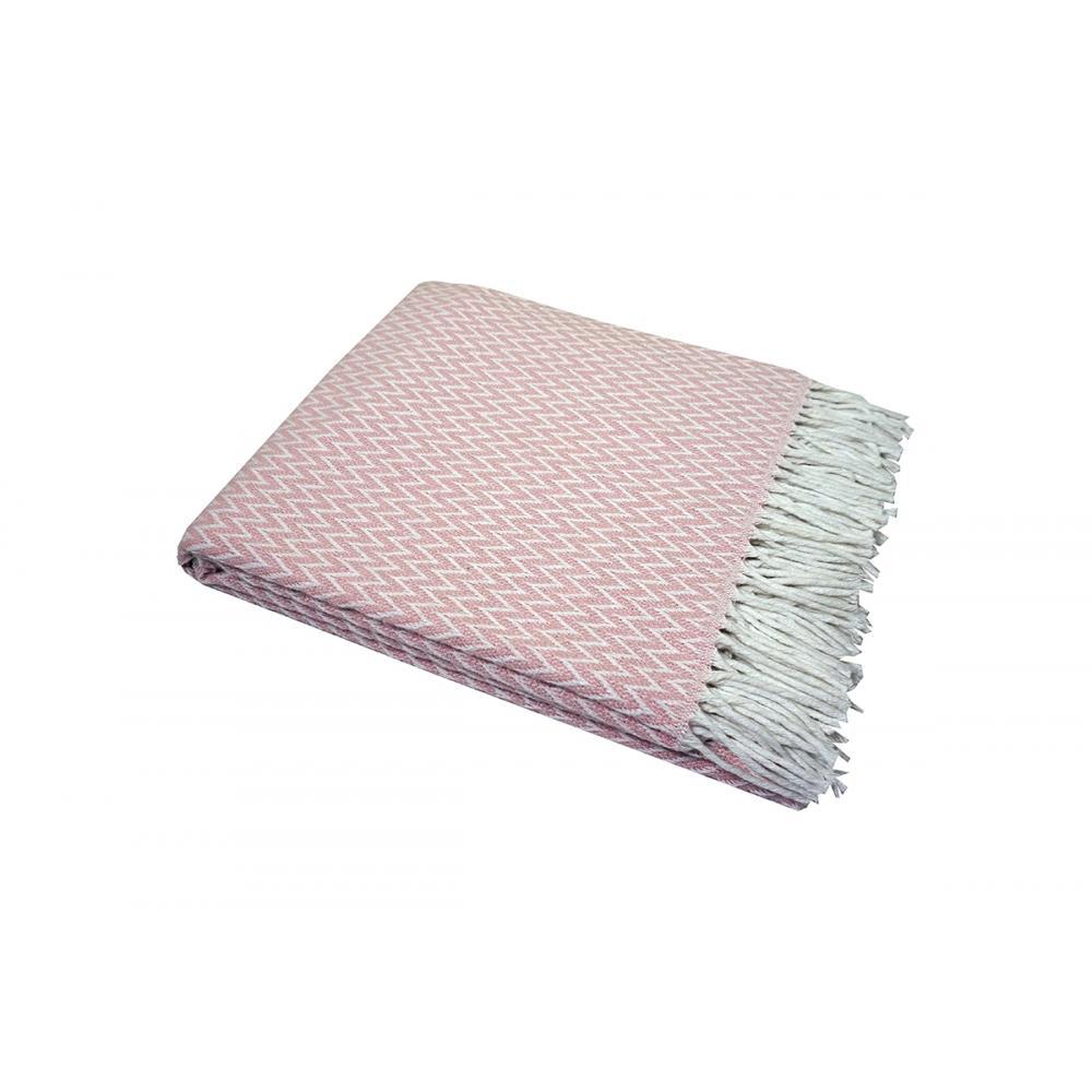 Плед структурный Валенсия Антонио 140x200 бело-розовый